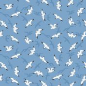Lewis & Irene - Old Harry Rocks - 6433 - Seagulls on Blue - A368.3 - Cotton Fabric